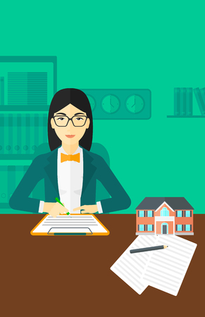 agency agreement: An asian woman sitting in office at the table while signing a contract and a small model of the house standing on the table vector flat design illustration. Vertical layout. Illustration