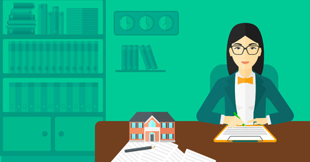 An asian woman sitting in office at the table while signing a contract and a small model of the house standing on the table vector flat design illustration. Horizontal layout.