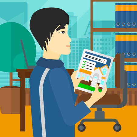 An asian man standing in modern office with city view and looking at house on digital tablet screen vector flat design illustration. Square layout.