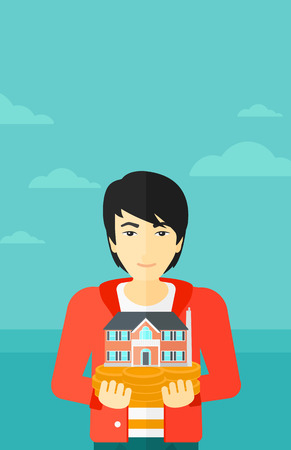 hands holding house: An asian man holding model of house in hands on the background of blue sea and sky vector flat design illustration. Vertical layout.