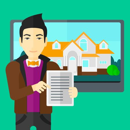 big screen: An asian man standing in front of big screen with house photo and holding a tablet computer in hands on a light green background vector flat design illustration. Square layout. Illustration
