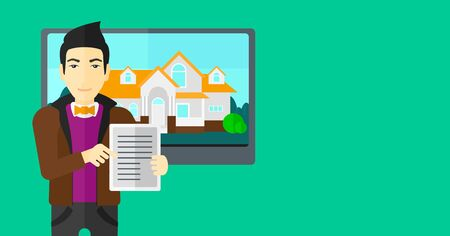 big screen: An asian man standing in front of big screen with house photo and holding a tablet computer in hands on a light green background vector flat design illustration. Horizontal layout. Illustration