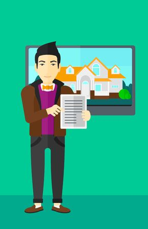 hands holding house: An asian man standing in front of big screen with house photo and holding a tablet computer in hands on a light green background vector flat design illustration. Vertical layout.