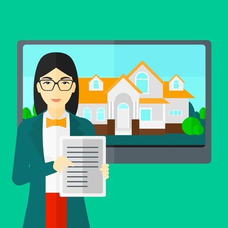hands holding house: An asian woman standing in front of big screen with house photo and holding a tablet computer in hands on a light green background vector flat design illustration. Square layout.