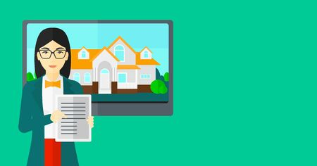 hands holding house: An asian woman standing in front of big screen with house photo and holding a tablet computer in hands on a light green background vector flat design illustration. Horizontal layout.