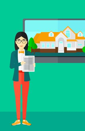 big screen: An asian woman standing in front of big screen with house photo and holding a tablet computer in hands on a light green background vector flat design illustration. Vertical layout. Illustration