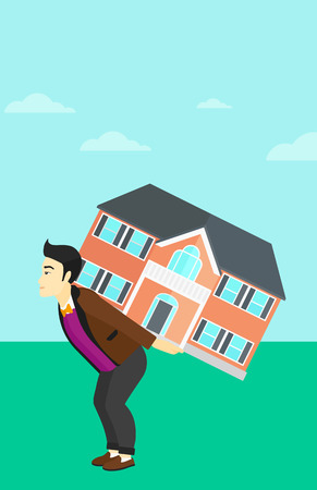 An asian man carrying a big house on his back on a sky background vector flat design illustration. Vertical layout.