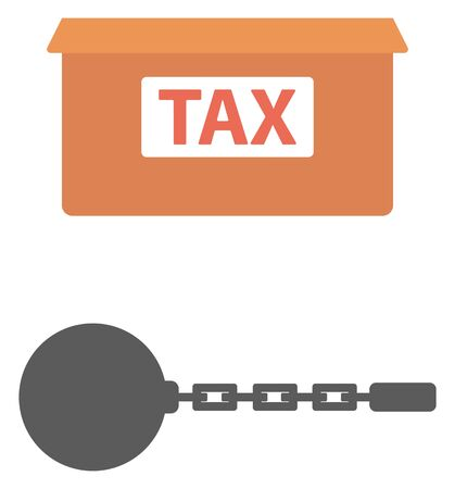 Box for taxes and chain with ball vector flat design illustration isolated on white background.