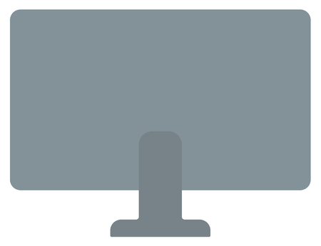 white back: Rear view of computer display vector flat design illustration isolated on white background.