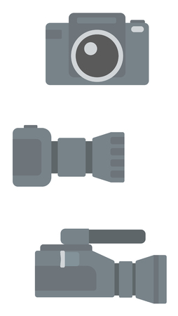 Digital photo camera and professional video camera vector flat design illustration isolated on white background. Vettoriali