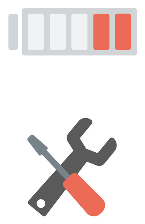 Wrench with screwdriver and battery above them vector flat design illustration isolated on white background. Illustration