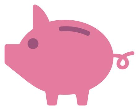 Pink piggy bank vector flat design illustration isolated on white background.  イラスト・ベクター素材