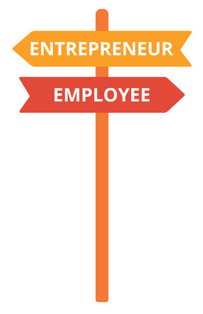 self employed: Employee and entrepreneur road sign vector flat design illustration isolated on white background.