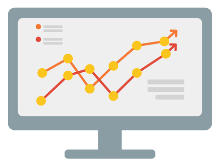 Growing business graph on computer monitor vector flat design illustration isolated on white background.