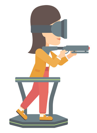 A woman wearing virtual reality headset and standing on a treadmill with a gun in hands vector flat design illustration isolated on white background.
