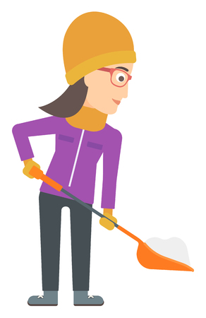 shoveling: A woman shoveling and removing snow vector flat design illustration isolated on white background.