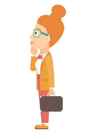 A woman with briefcase looking at departure board vector flat design illustration isolated on white background. 矢量图像