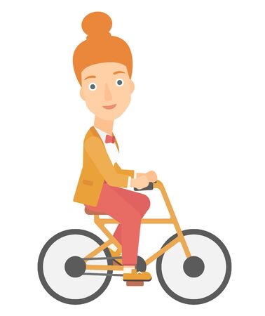 A woman cycling to work vector flat design illustration isolated on white background.