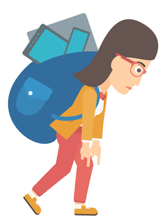 cary: A sad woman walking with a big backpack full of different devices vector flat design illustration isolated on white background.