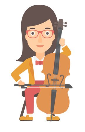 fiddlestick: A woman playing cello vector flat design illustration isolated on white background.