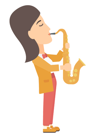 soloist: A musician playing saxophone vector flat design illustration isolated on white background. Illustration