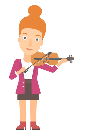 soloist: A woman  playing violin vector flat design illustration isolated on white background.