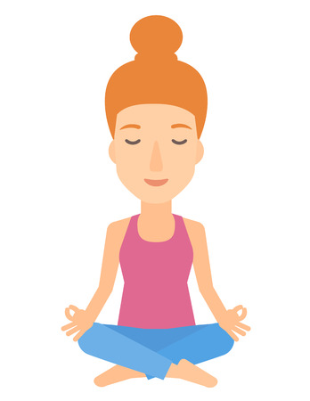 A woman meditating in lotus pose vector flat design illustration isolated on white background. Illustration