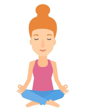 elasticidad: Una mujer meditando en posición de loto ilustración vectorial diseño plano aislado en el fondo blanco.