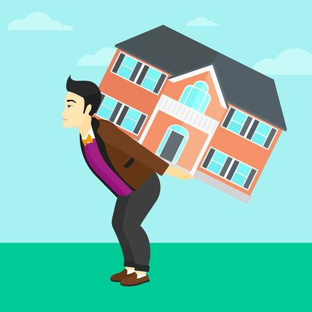 An asian man carrying a big house on his back on a sky background vector flat design illustration. Square layout.