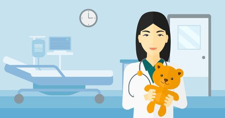 pediatrician: An asian pediatrician holding a teddy bear on the background of hospital ward vector flat design illustration. Horizontal layout. Stock Photo