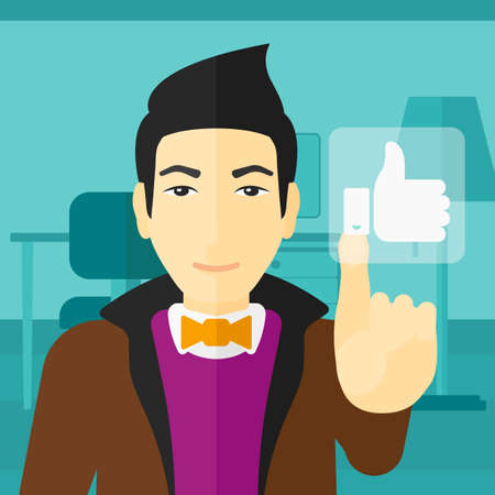 like button: An asian man pressing like button on the background of apartment vector flat design illustration. Square layout. Stock Photo