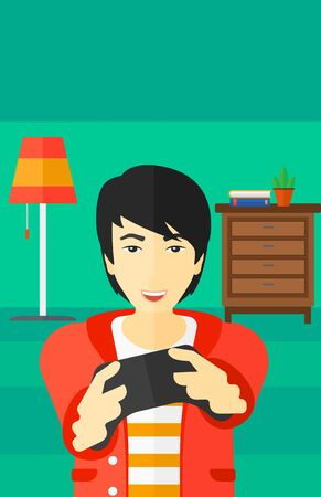 concentrating: An enthusiastic asian man with gamepad in hands on a living room background vector flat design illustration. Vertical layout.