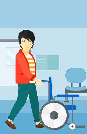 Een Aziatische man te duwen lege rolstoel op de achtergrond van het ziekenhuisgang vector platte ontwerp illustratie. Verticale lay-out. Stockfoto