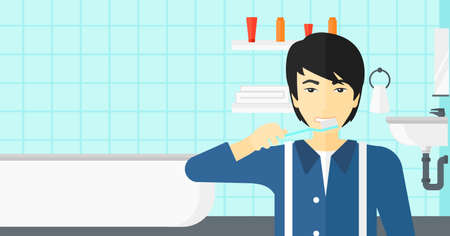 An asian man brushing his teeth with a toothbrush in bathroom vector flat design illustration. Horizontal layout. Stock Photo