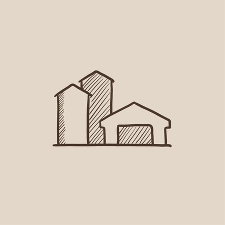 Edificios de la granja dibujo icono para web, móvil y la infografía. aislado vector dibujado a mano icono. Foto de archivo - 54568591