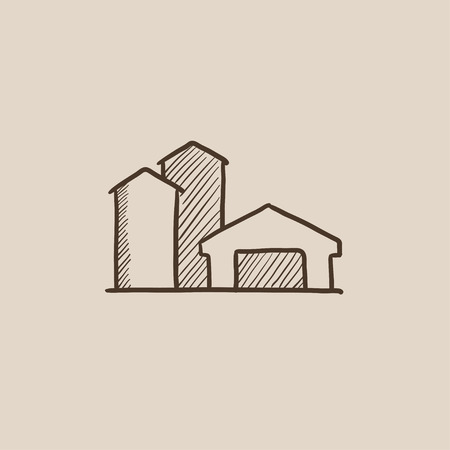 granary: Farm buildings sketch icon for web, mobile and infographics. Hand drawn vector isolated icon.