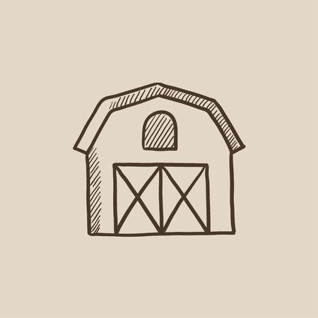 Dibujo icono de la granja para web, móvil y la infografía. aislado vector dibujado a mano icono. Foto de archivo - 54568592