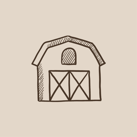 granary: Farm building sketch icon for web, mobile and infographics. Hand drawn vector isolated icon.