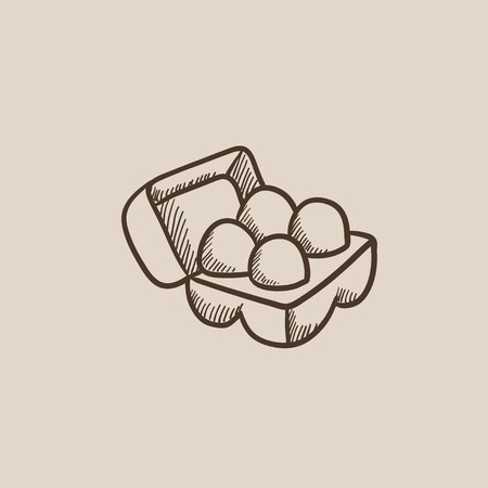 Eggs in a carton package sketch icon for web, mobile and infographics. Hand drawn vector isolated icon.