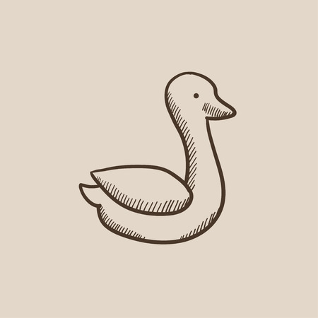 canard: Duck sketch icon for web, mobile and infographics. Hand drawn vector isolated icon. Illustration