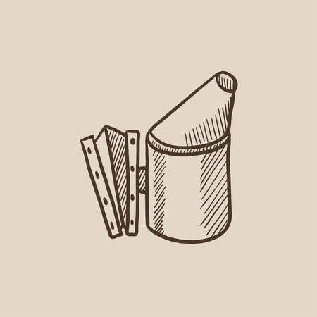 smoker: Bee hive smoker sketch icon for web, mobile and infographics. Hand drawn vector isolated icon.