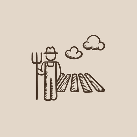 Farmer with pitchfork standing on the field sketch icon for web, mobile and infographics. Hand drawn vector isolated icon. Stock Illustratie