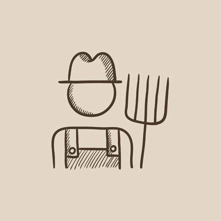 rancher: Farmer with pitchfork sketch icon for web, mobile and infographics. Hand drawn vector isolated icon. Illustration