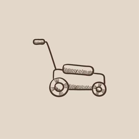 push mower: Lawnmover sketch icon for web, mobile and infographics. Hand drawn vector isolated icon. Illustration