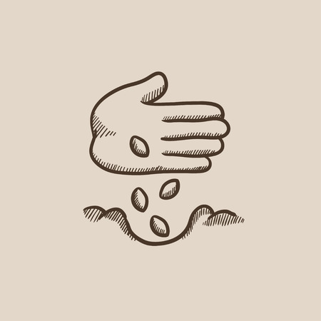 seeding: Hand planting seeds in the ground sketch icon for web, mobile and infographics. Hand drawn vector isolated icon.