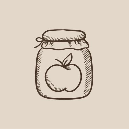 hand jam: Apple jam jar sketch icon for web, mobile and infographics. Hand drawn vector isolated icon.