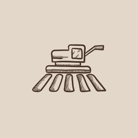 harvester: Combine harvester sketch icon for web, mobile and infographics. Hand drawn vector isolated icon. Illustration