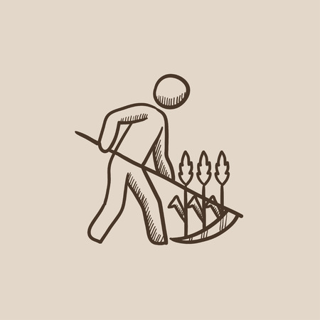 mowing the grass: Man mowing grass with a scythe sketch icon for web, mobile and infographics. Hand drawn vector isolated icon. Illustration