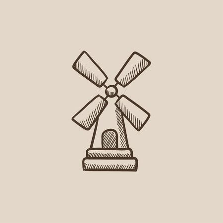 agro: Windmill sketch icon for web, mobile and infographics. Hand drawn vector isolated icon.