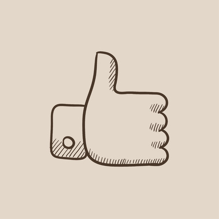 Thumb up sketch icon for web, mobile and infographics. Hand drawn vector isolated icon.